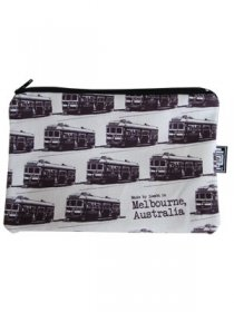 Pencil Case 18x10cm Trams White