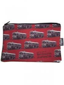 Pencil Case 18x10cm Trams Red