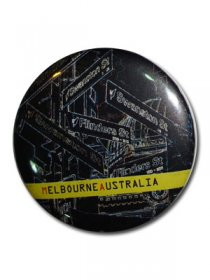 Magnet 57mm Melbourne Signs Black Neon