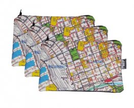 3 x Pencil Cases 18x10cm Melway Maps Natural for most suburbs