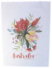Tea Towel 50x70cm Linen/Cotton Australian Flowers