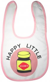 Bib Happy Little Vegemite Pink