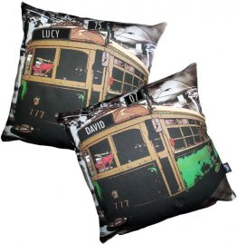 Cushion Personalised Birthday Tram