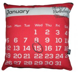 Cushion Personalised Red Birthday Calendar