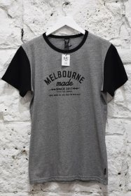 Blak T-Shirt BGW Striped with Black Sleeves Melbourne Made Print