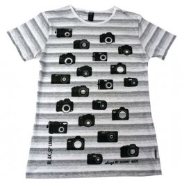 Blak Summer Stripe T-Shirt with Camera Print