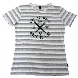Blak Summer Stripe T-Shirt with Live to Write Print
