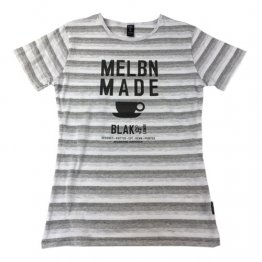 Blak Summer Stripe T-Shirt with Coffee Cup Print