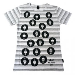 Blak Summer Stripe T-Shirt with Records Print