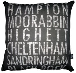 Cushion Destination Scroll Brighton to Blackrock Vintage (Various Colours)