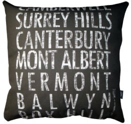 Cushion Destination Scroll Camberwell to Box Hill Vintage (Various Colours)