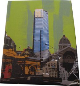Canvas Art 20x25cm Melbourne Collage Green