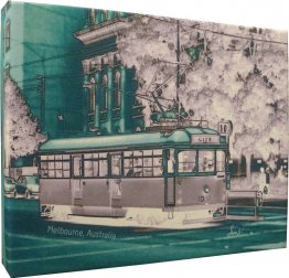 Canvas Art 20x25cm Tram Neg Aqua