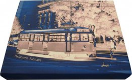 Canvas Art 20x25cm Tram Neg Blue