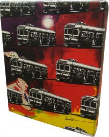 Canvas Art 20x25cm Trams on Spilt Ink