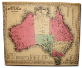 Canvas Art 100x120cm Johnsons Map of Australia