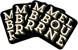 Coasters Set of 4 Melbourne Text Black