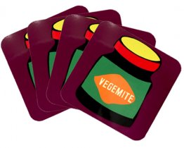 Coasters Set of 4 Vegemite Purple