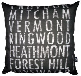 Cushion Destination Scroll Croydon to Bayswater Vintage (Various Colours)