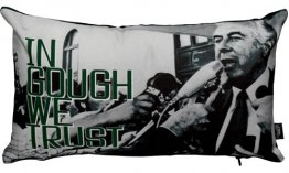 Cushion 50x30cm In Gough We Trust Gough Whitlam Green