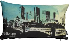 Cushion 50x30cm Melbourne Skyline Watercolour