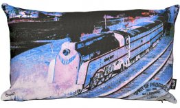 Cushion 50x30cm Spirit of Progress Train Blue