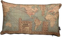 Cushion 50x30cm Trade Route World Map Globe