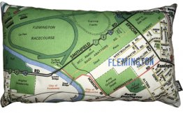 Cushion 50x30cm Flemington Racecourse Natural Map