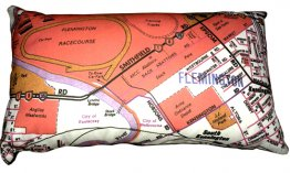 Cushion 50x30cm Flemington Racecourse Red Map