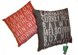 Personalised Cushion Destination Scroll Vintage (various colours)