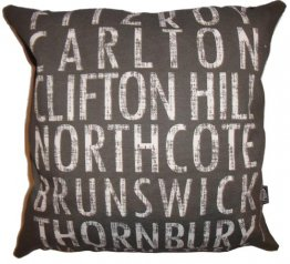 Cushion Destination Scroll Fitzroy to Thornbury Vintage (Various Colours)
