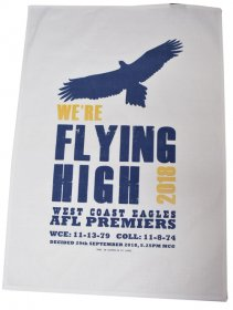 Tea Towel 50x70cm Linen/Cotton Flying High 2018 West Coast Eagles