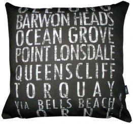 Cushion Destination Scroll Geelong to Lorne Vintage (Various Colours)