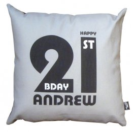 Cushion Personalised 21st Birthday Grey