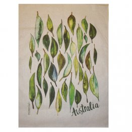 Tea Towel 50x70cm Linen/Cotton Gum Leaves Australia