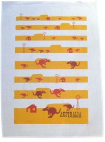 Tea Towel 50x70cm Linen/Cotton Kangaroo Fun