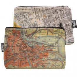 My Two Worlds Pencil Case 18x10cm Melbourne & Amsterdam Maps