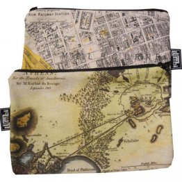 My Two Worlds Pencil Case 18x10cm Melbourne & Athens Maps