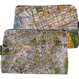 My Two Worlds Pencil Case 18x10cm Melbourne & Belfast Maps
