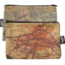 My Two Worlds Pencil Case 18x10cm Melbourne & Berlin Maps