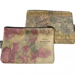 My Two Worlds Pencil Case 18x10cm Melbourne & Boston Maps