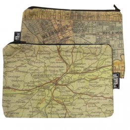 My Two Worlds Pencil Case 18x10cm Melbourne & Carmarthen Maps