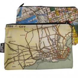My Two Worlds Pencil Case 18x10cm Melbourne & Cebu Maps