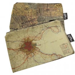My Two Worlds Pencil Case 18x10cm Melbourne & Dublin Bay Maps