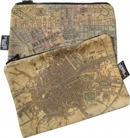 My Two Worlds Pencil Case 18x10cm Melbourne & Dublin Maps