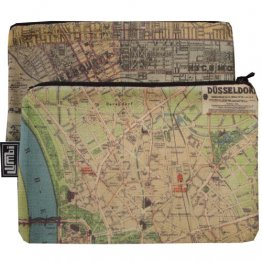 My Two Worlds Pencil Case 18x10cm Melbourne & Dusseldorf Maps
