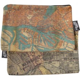 My Two Worlds Pencil Case 18x10cm Melbourne & Hamburg Maps
