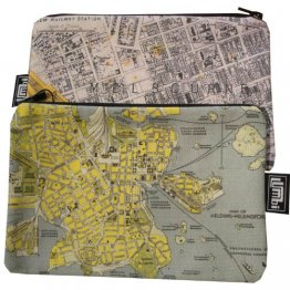 My Two Worlds Pencil Case 18x10cm Melbourne & Helsinki Maps