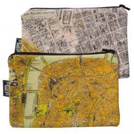 My Two Worlds Pencil Case 18x10cm Melbourne & London Maps
