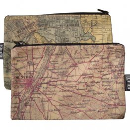 My Two Worlds Pencil Case 18x10cm Melbourne & Munich Maps